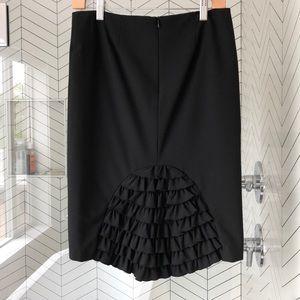 Trina Turk pencil skirt black ruffles